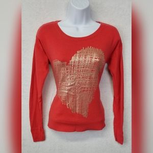 Mossimo Women's Sweater Heart Orange Gold Small